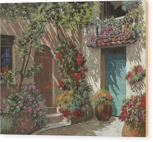 Fiori In Cortile Wood Print
