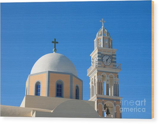 Fira Catholic Cathedral Horizontal Wood Print