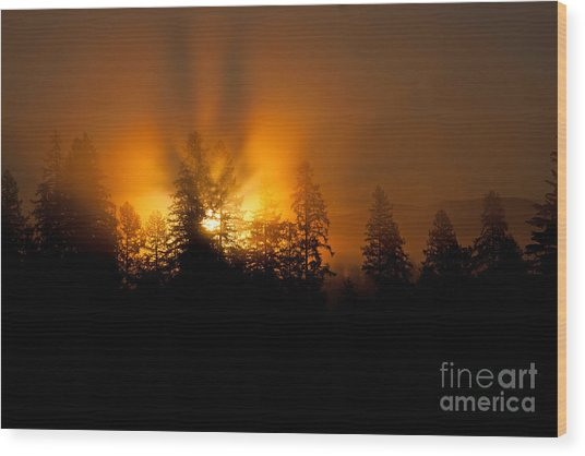 Fire And Fog Wood Print