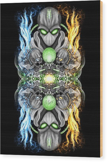 Fire And Ice Alien Time Machine Wood Print