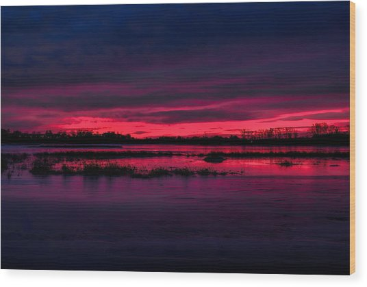 Fire And Ice Sunrise Wood Print