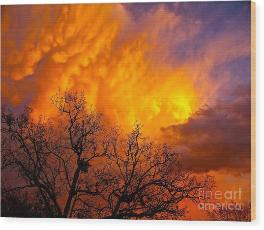 Fire And Water In The Sky Wood Print by Chuck Taylor