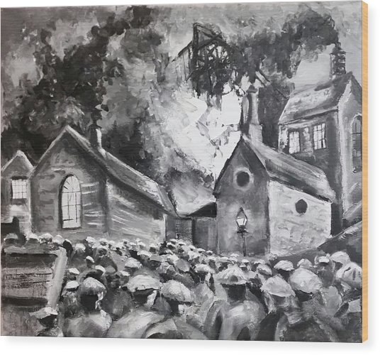 Fire At The Pit  Wood Print