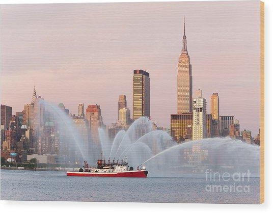 Fire Boat And Manhattan Skyline I Wood Print