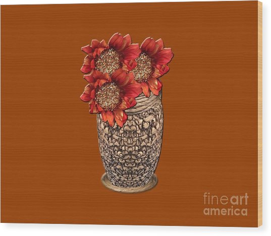 Fire Brick Flora Vase Wood Print