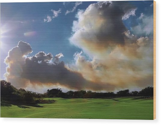 Fire Clouds Over A Golf Course Wood Print