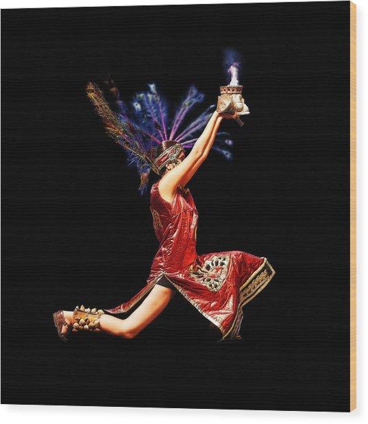 Fire Dancer Wood Print