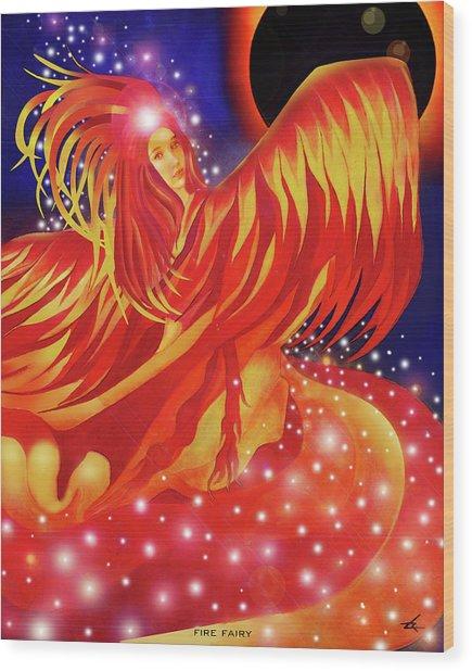 Fire Fairy Wood Print