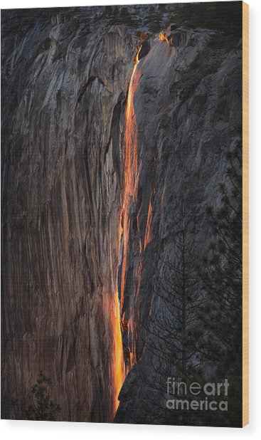 Fire Fall Wood Print