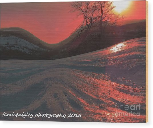 Fire Frost Wood Print