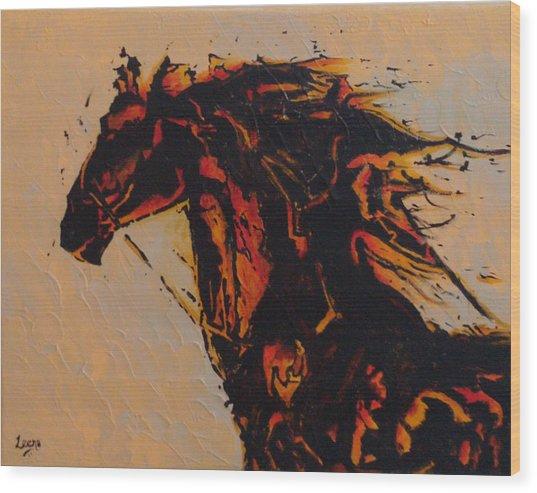 Fire Horse Wood Print by Leena Kewlani