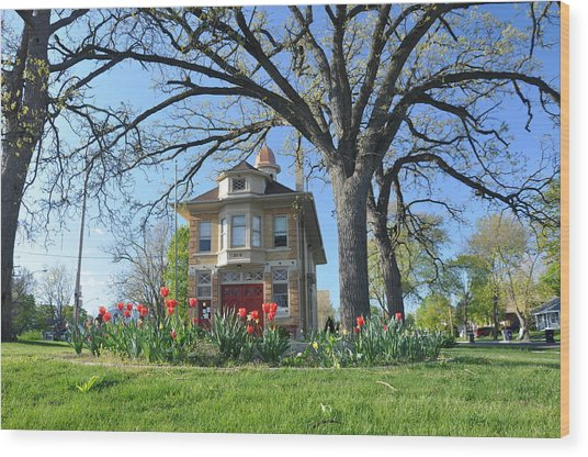 Fire House In The Park Wood Print