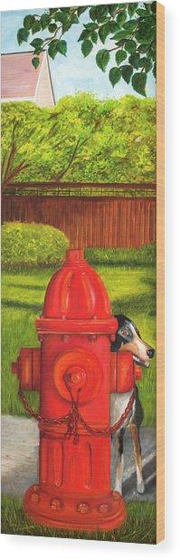 Fire Hydrant Dog Wood Print