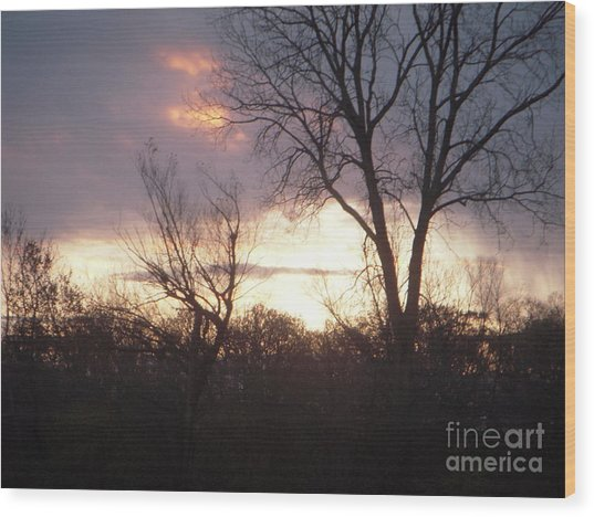 Fire In The Sky Wood Print by Deborah Finley