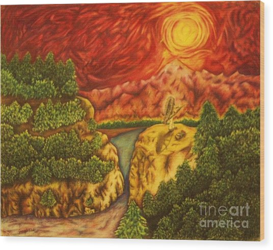 Fire In The Sky Wood Print by Jamey Balester