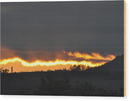 Fire In The Sky Wood Print by Jan Amiss Photography