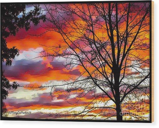 Fire Inthe Sky Wood Print