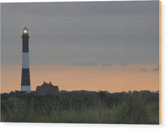 Fire Island Light Wood Print