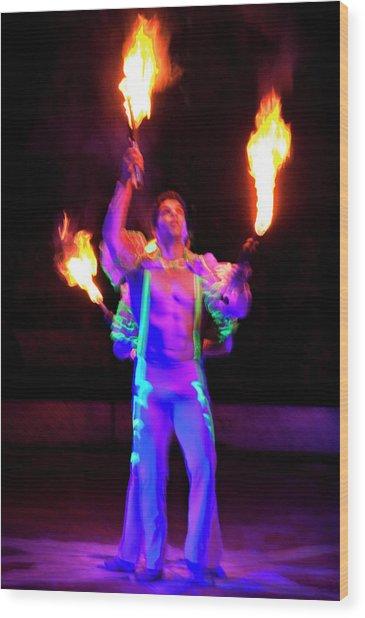 Fire Juggler Wood Print