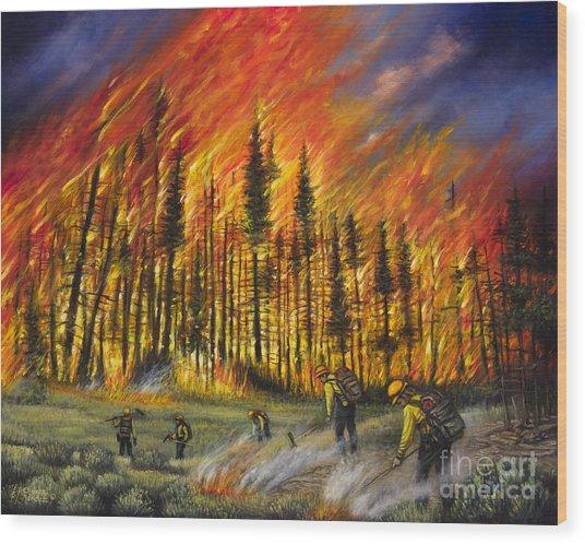 Fire Line 1 Wood Print