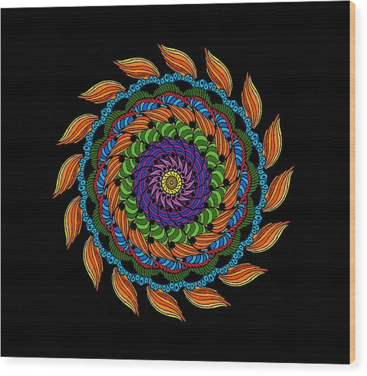 Fire Mandala Wood Print