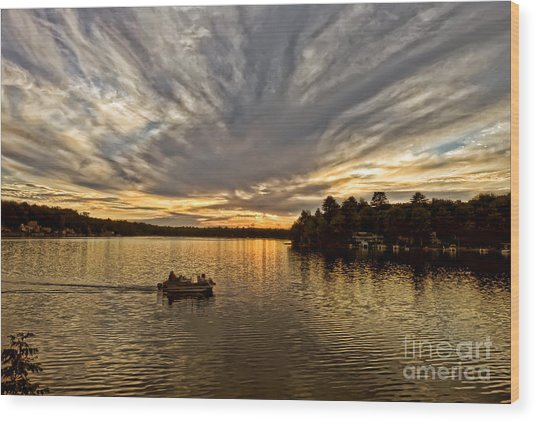Fire On The Lake Wood Print by Pat Carosone