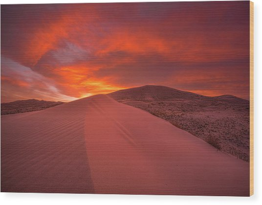 Fire Over Kelso Dunes Wood Print