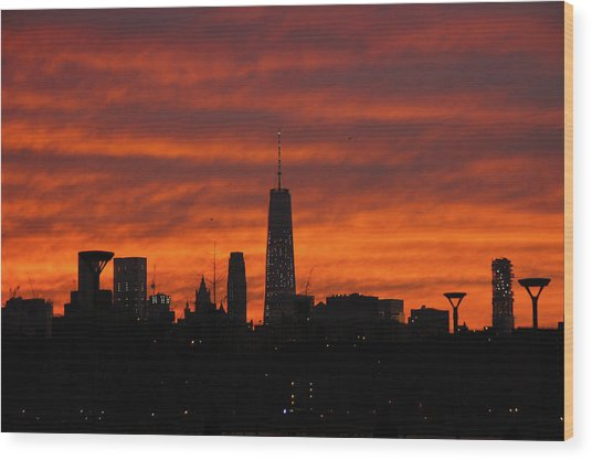 Fire Over New York Wood Print