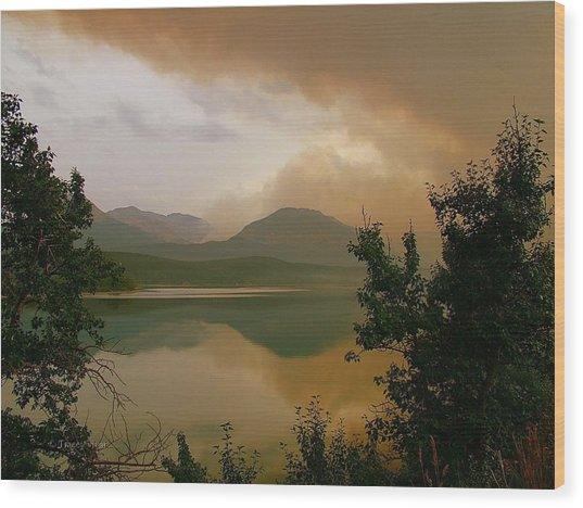 Fire Over St Mary Lake Wood Print