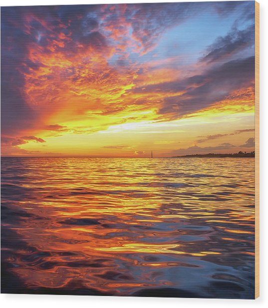 Fire Skies Wood Print by Steve Spiliotopoulos