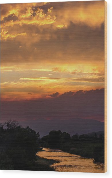Fire Sky At Sunset Wood Print