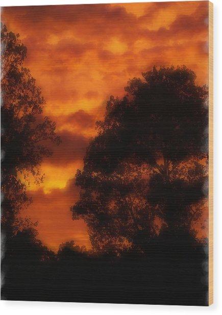 Fire Sky Wood Print by Ken Gimmi