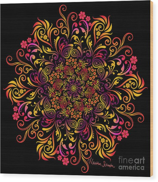 Fire Swirl Flower Wood Print