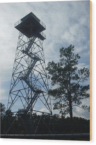 Fire Tower In The Forest Wood Print by Warren Thompson