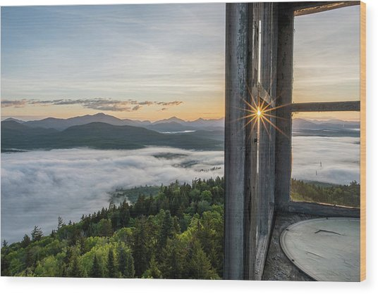 Fire Tower Sunburst Wood Print