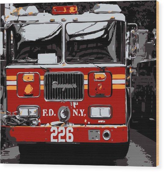 Fire Truck Color 6 Wood Print