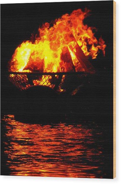Fire Water Illuminates The Night Wood Print