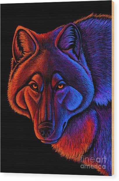 Fire Wolf Wood Print