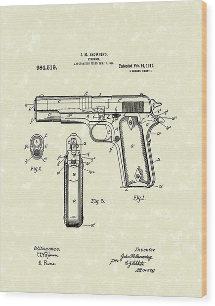 Firearm 1911 Patent Art Wood Print
