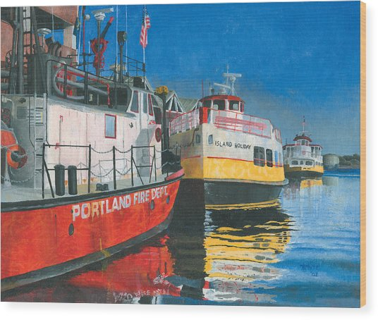 Fireboat And Ferries Wood Print