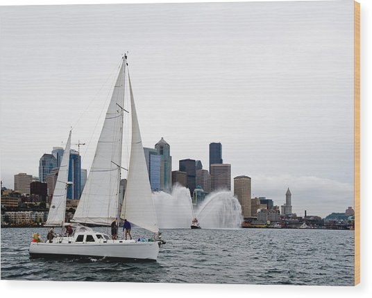 Fireboat Sail By Wood Print by Tom Dowd
