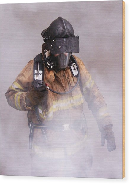 Firefighter Wood Print