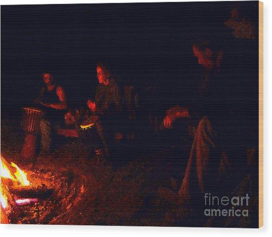 Firelight Drumming Wood Print by JoAnn SkyWatcher