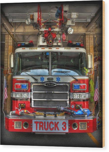 Fireman - Fire Engine Wood Print