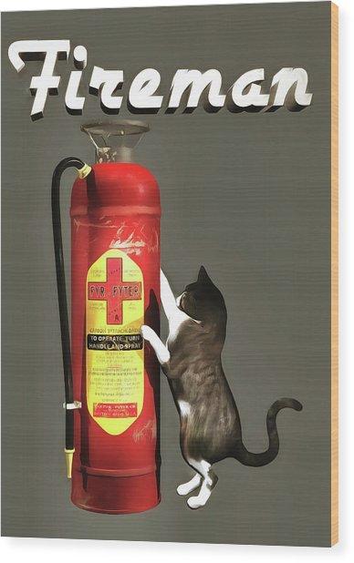 Wood Print featuring the painting Fireman by Jan Keteleer