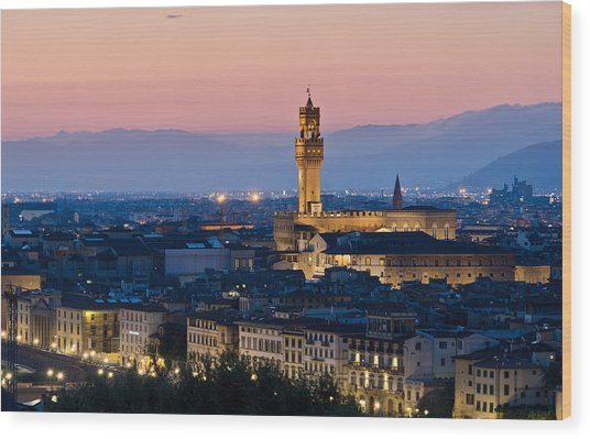 Firenze At Sunset Wood Print