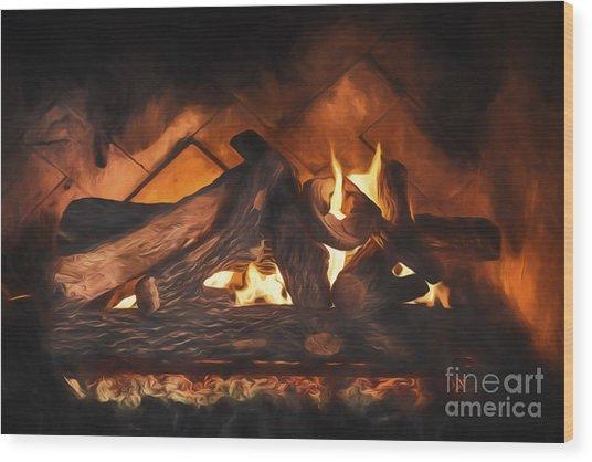 Fireplace  ... Wood Print