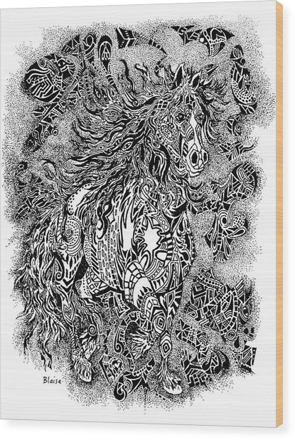Firestorm In Black And White Wood Print