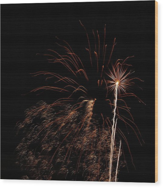 Firew0rks From A Boat - 12 Wood Print