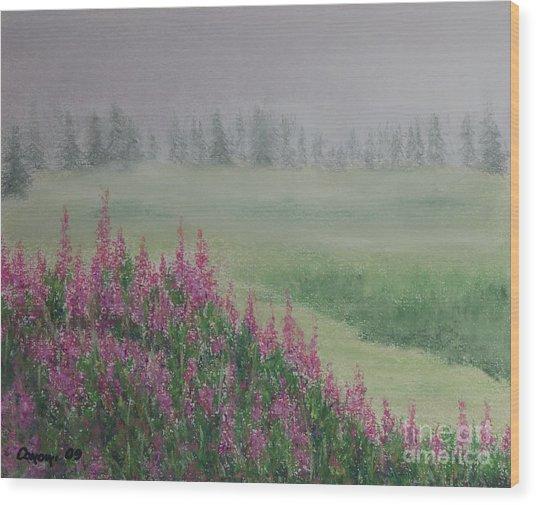Fireweeds Still In The Mist Wood Print